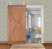 "36""x84"" Solid Core Knotty Alder Natural Wood Interior Primed Barn Sliding Door"