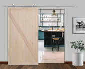 "42"" X 84"" Top Mount Wood Interior Barn Door with stainless steel sliding door hardware kit"
