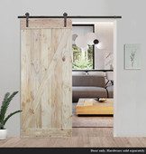 "TMS 36"" x 84"" Two-Side Z-Bar Natural Wood Color Plank Knotty Pine Barn Sliding Interior Door"