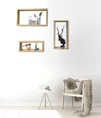 TMS Set of 3 unfinished Solid Wood Pine Wall Decor Rectangle Floating Shelves
