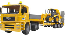 MAN TGA Low loader truck with JCB 4CX Backhoe loader