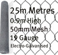 25m Electro-Galvanised 0.9m 50mm Chicken Wire Mesh