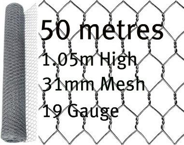 50m roll of 1050mm tall 31mm heavily galvanised rabbit chicken wire netting mesh