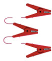 Triple Red Crocodile Clip Connectors