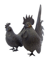 11M405 Rooster Okimono A Pair / SOLD