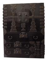 12H2 Rare Lacquer Kannon Biraki Tansu 2 Section w/Secret Compartment