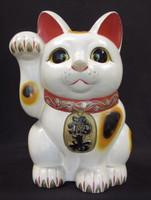 12M49 Large Maneki Neko Beckoning Cat Tokoname