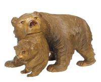12M104 Ainu Bear holding Cub Artist Signed