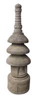 16M216 Antique Stone Garden Lantern with Carved Jizo / SOLD