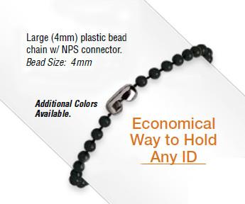 Plastic neck chains.