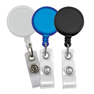 """This badge reel is the classic way to hold your slotted ID cards while still having the length. The swivel clip allows for easy attachment to clothes such as shirts and belts. This round reel features a larger imprint area for your company logo to be displayed.  Cord measures 34"""". Minimum quantity of 25. Product also known as: 905-I-BLK, 905-I-RBLU, 905-I-WHT, 905-I-C"""