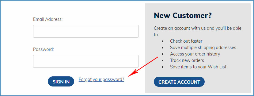 Easy Returns - Forget Your Account Password