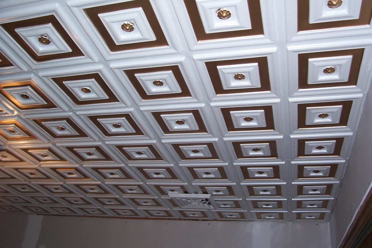 Deco seashore faux tin ceiling tile glue up 24x24 112 the pattern of this ceiling consists of a a flower probably daisy in a smaller molding 112 silver faux tin ceiling tiles installed dailygadgetfo Gallery
