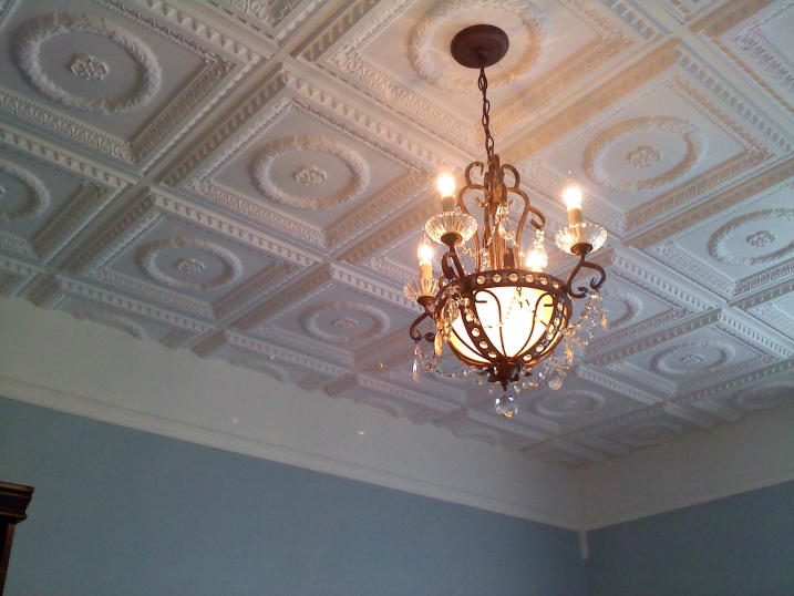 our beautiful 210 ceiling tile in white matte installed in a private residence - Tin Ceilings