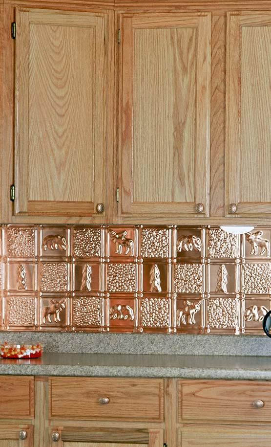 Polished copper backsplash is used in this installation to demonstrate the ease of install.