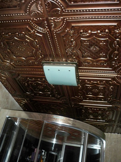 antique copper ceiling in a steam room.