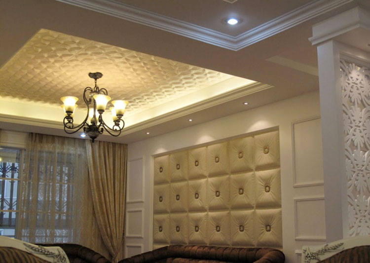 Wall and ceilings decorated by our faux leather panels.