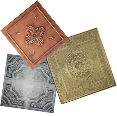 3 decorative hand painted styrofoam ceiling tiles in colors:  antique copper, antique silver, antique brass.