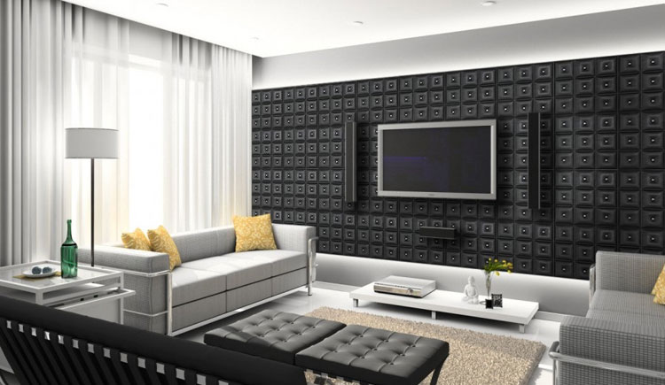 black decorative wall panels used behind a flat screen tv