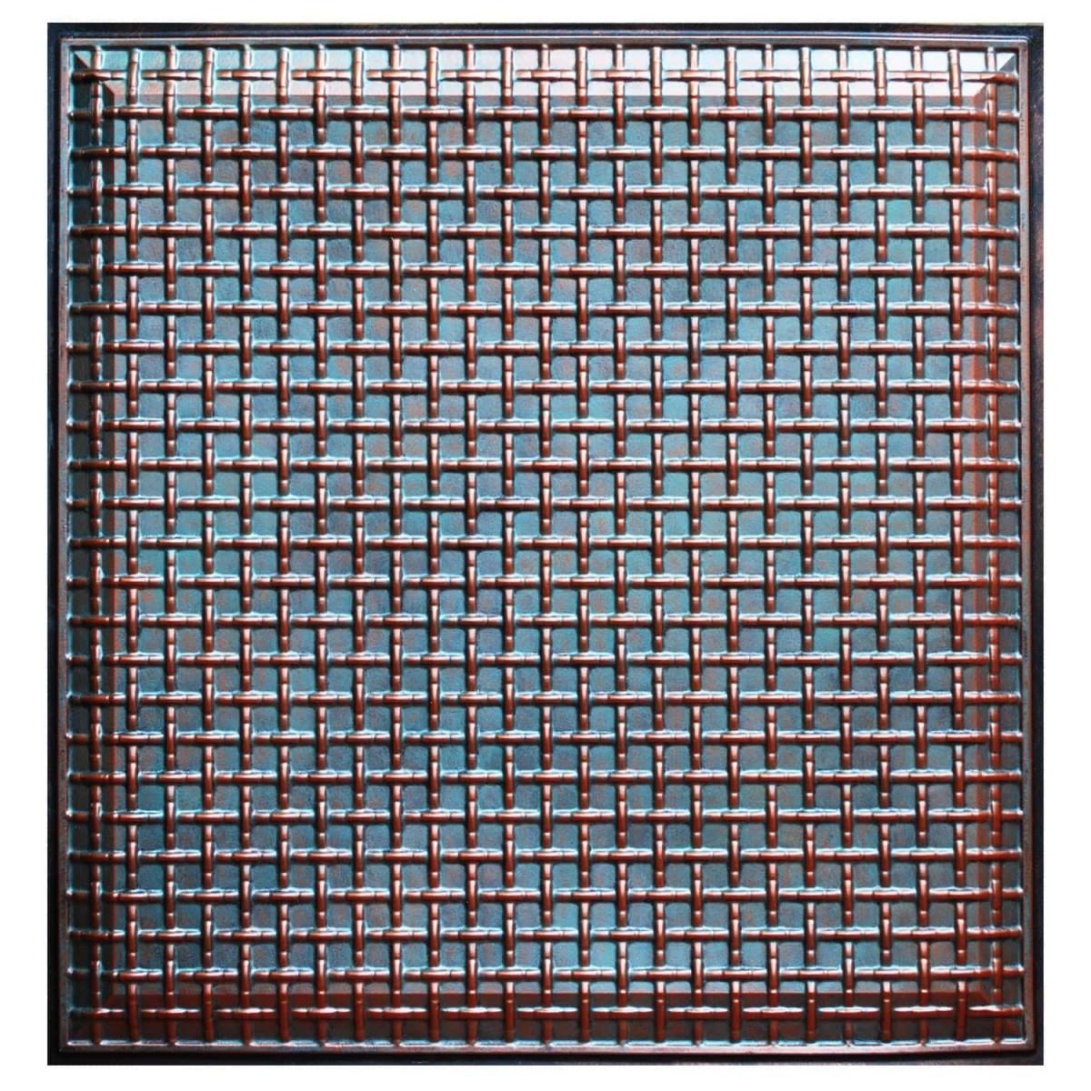 Rustic Lattice Fad Hand Painted Ceiling Tile Ctf 017
