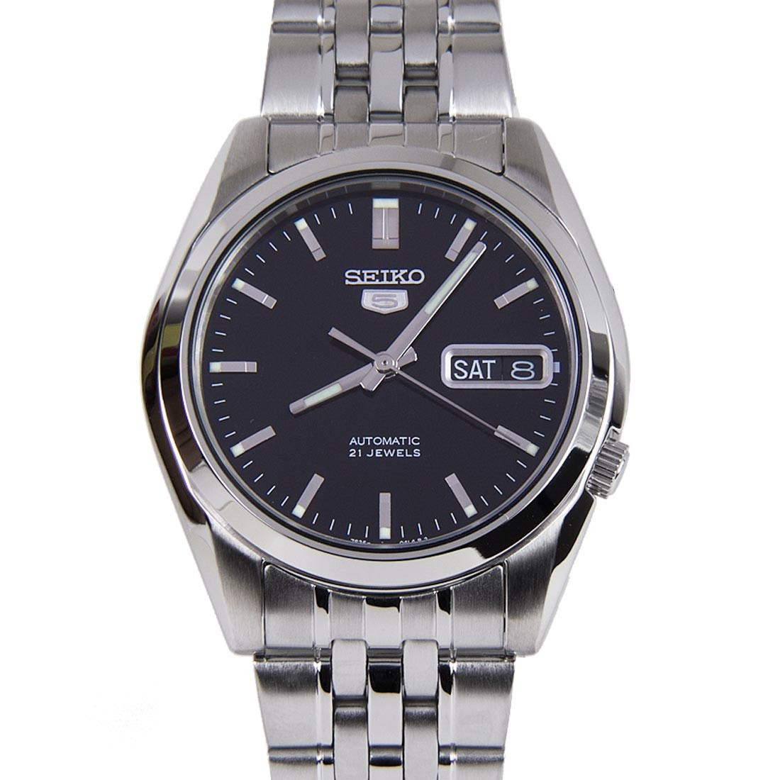 f54e4d182 ... Black Dial Stainless Steel Mens Watch. SEIKO 5 AUTOMATIC WATCH SNK361K1