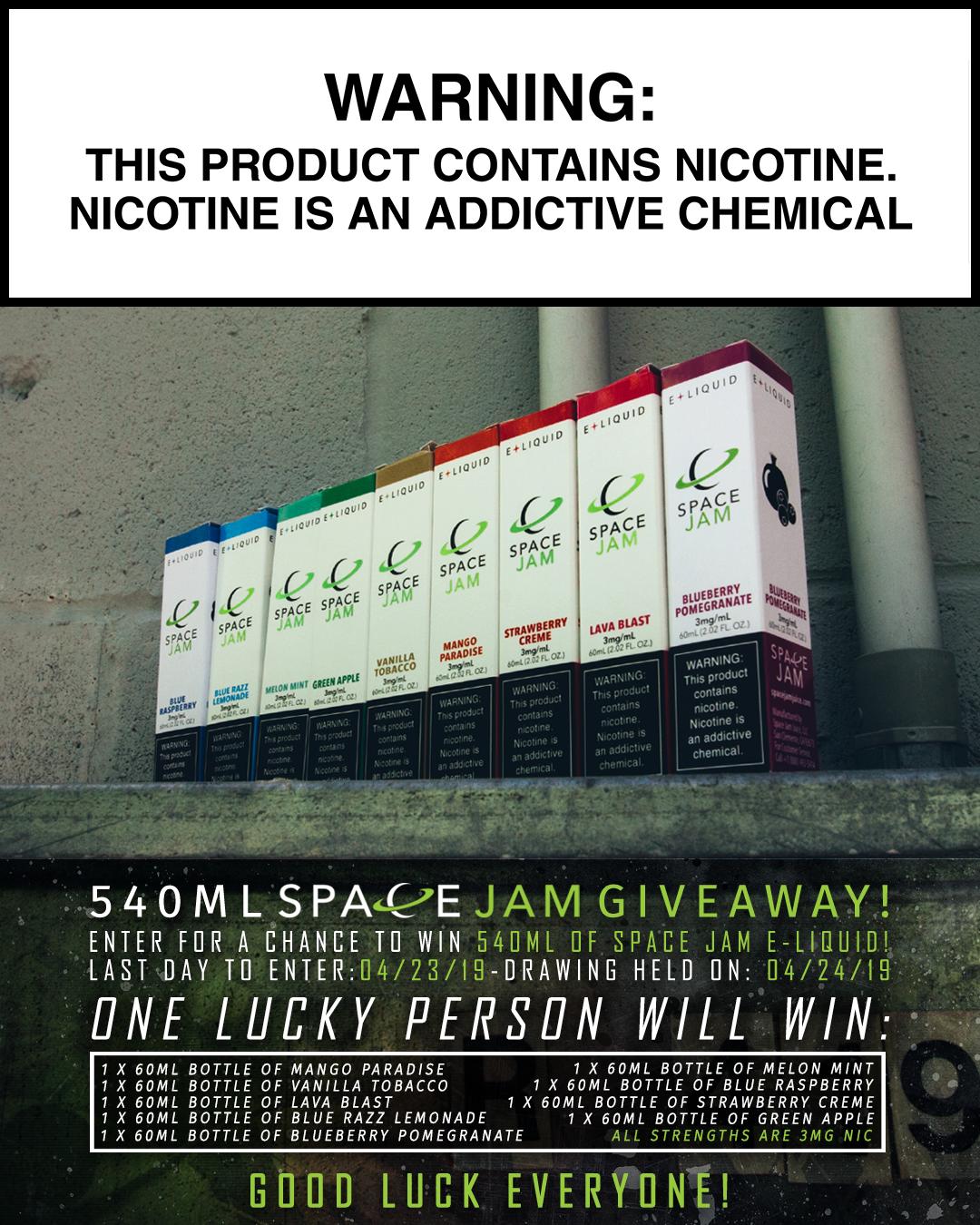540mL Space Jam Juice Giveaway! - EVcigarettes com