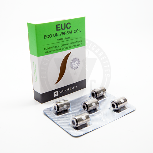 These traditional EUC replacement heads from Vaporesso have a 0.4 ohm clapton coil wrapped in organic cotton and rated for 40W–50W.