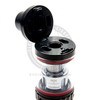 The locking flip-hinge top cap of the Valyrian sub-ohm tank hides two wide top-fill ports.