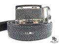 "Genuine Black Polished Stingray Skin Belt 46"" Long [8859322405350]"