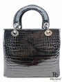 Genuine Crocodile Belly Handbag High Glossy Black [CRBH020BK01S]