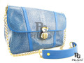 Genuine Polished Stingray Skin Leather Shoulderbag Blue [SRMB015BU05P-1]