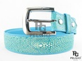 "Genuine Polished Stingray Skin Blue Men's Belt 46"" Long [SRB0115D1BU06P]"