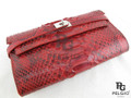Genuine Python Belly Skin Clutch Wallet Purse Red [PYRL012B1RD01G]