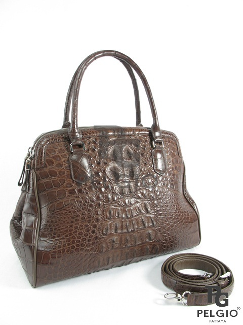 Genuine Alligator Leather Luxury Tote Purse Brown  8859322411863 ... 6d5d5953fc