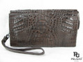 Genuine Caiman Crocodile Hornback Small Briefcase Brown [CMBF008BR07]