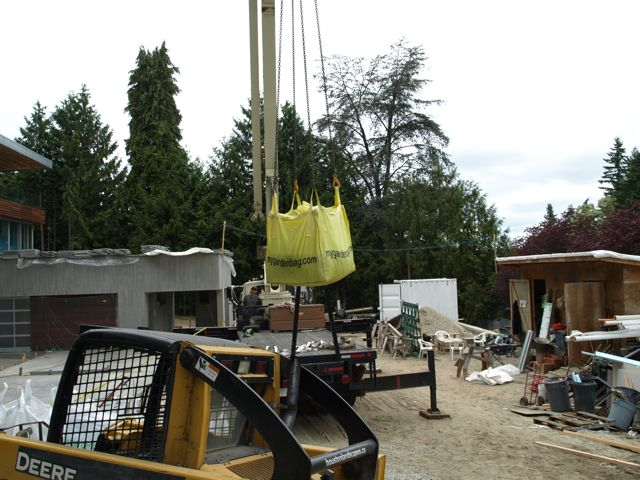 My Garden Bag crane delivery to rooftop garden in Vancouver