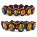 Bracelet, Wooden Oval Links with Oval Icons