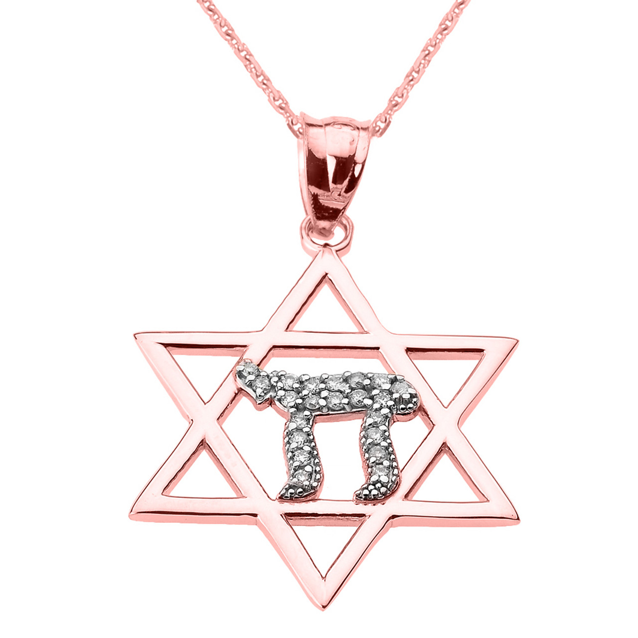 Rose Gold Star Of David Chai Diamond Pendant Necklace