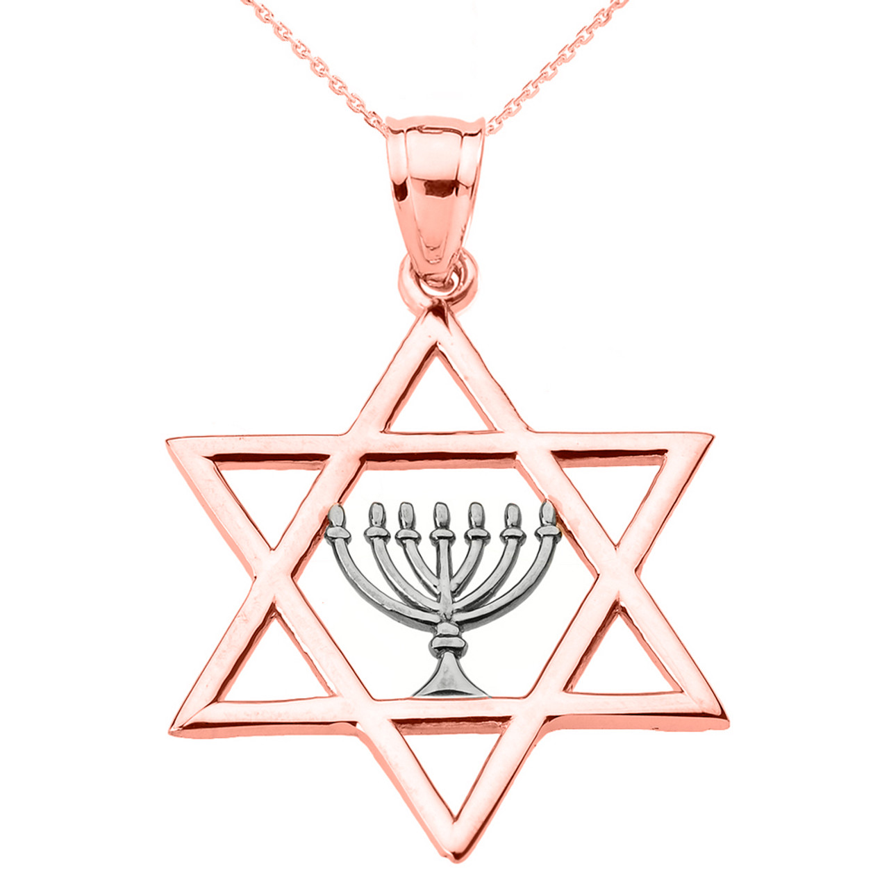 Rose gold star of david with menorah pendant necklace for Star of david jewelry wholesale