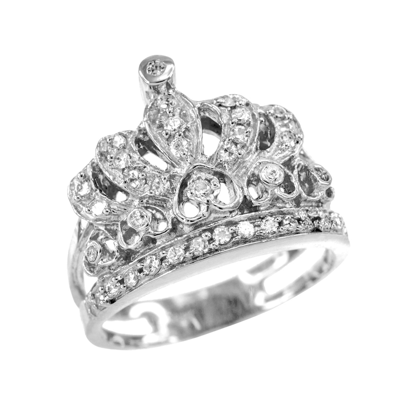 white gold crown cz ring