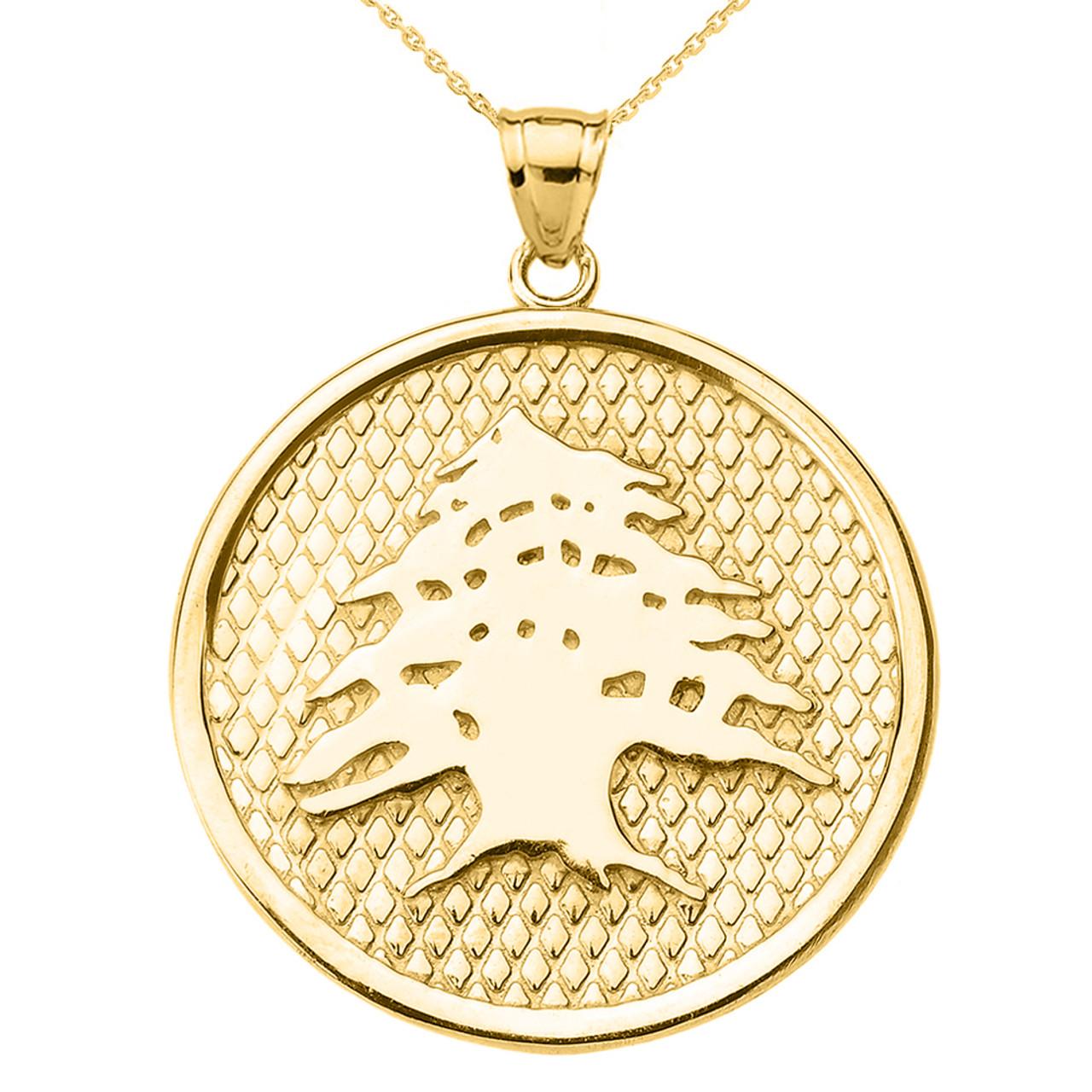 yellow gold lebanese cedar tree round pendant necklace. Black Bedroom Furniture Sets. Home Design Ideas