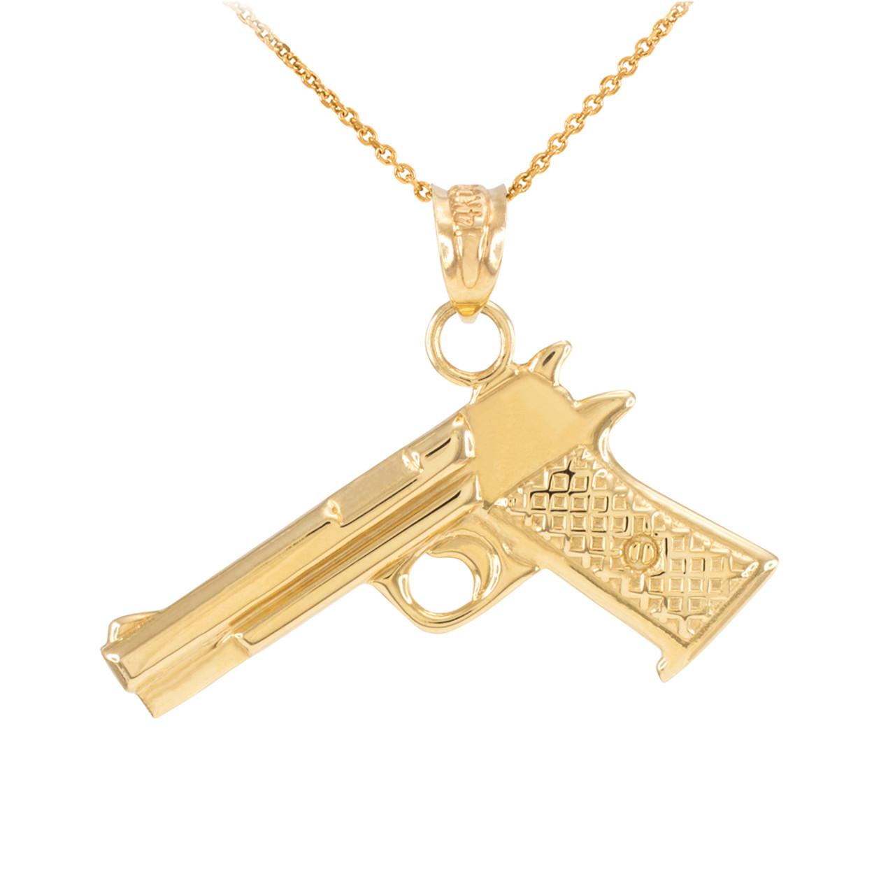 solid yellow gold desert eagle pistol gun pendant necklace