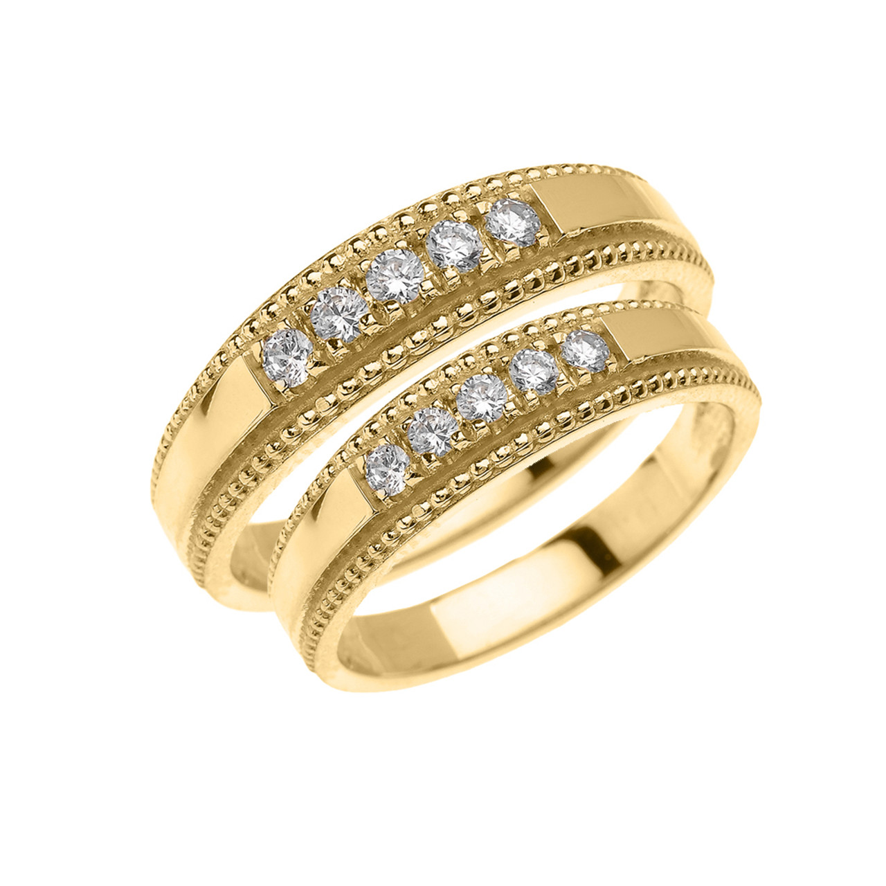 yellow gold his and hers matching wedding band