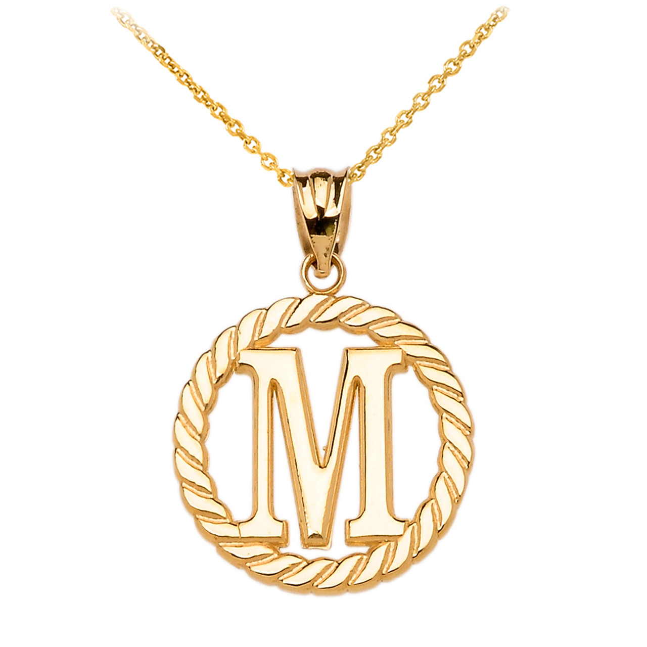 yellow gold quot m quot initial in rope circle pendant necklace