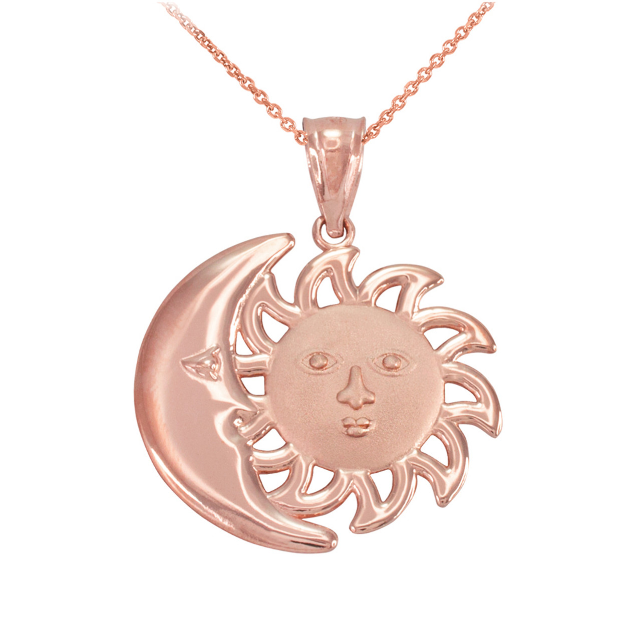 Rose Gold Moon And Sun Pendant Necklace