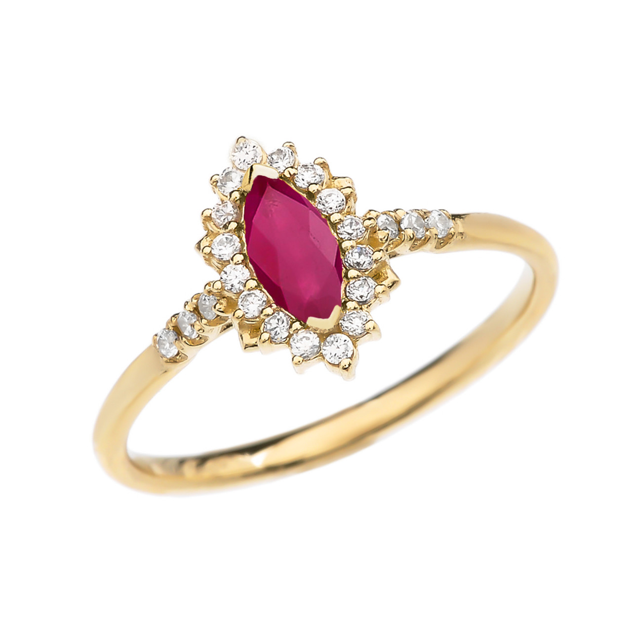 and marquise ruby yellow gold engagement ring