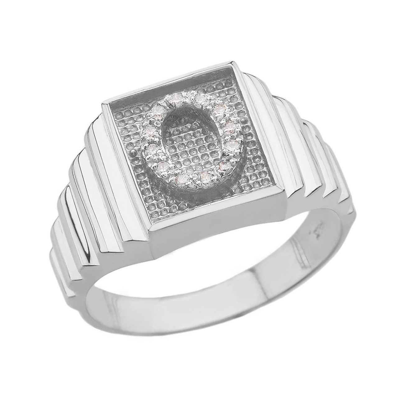 white gold initial o ring