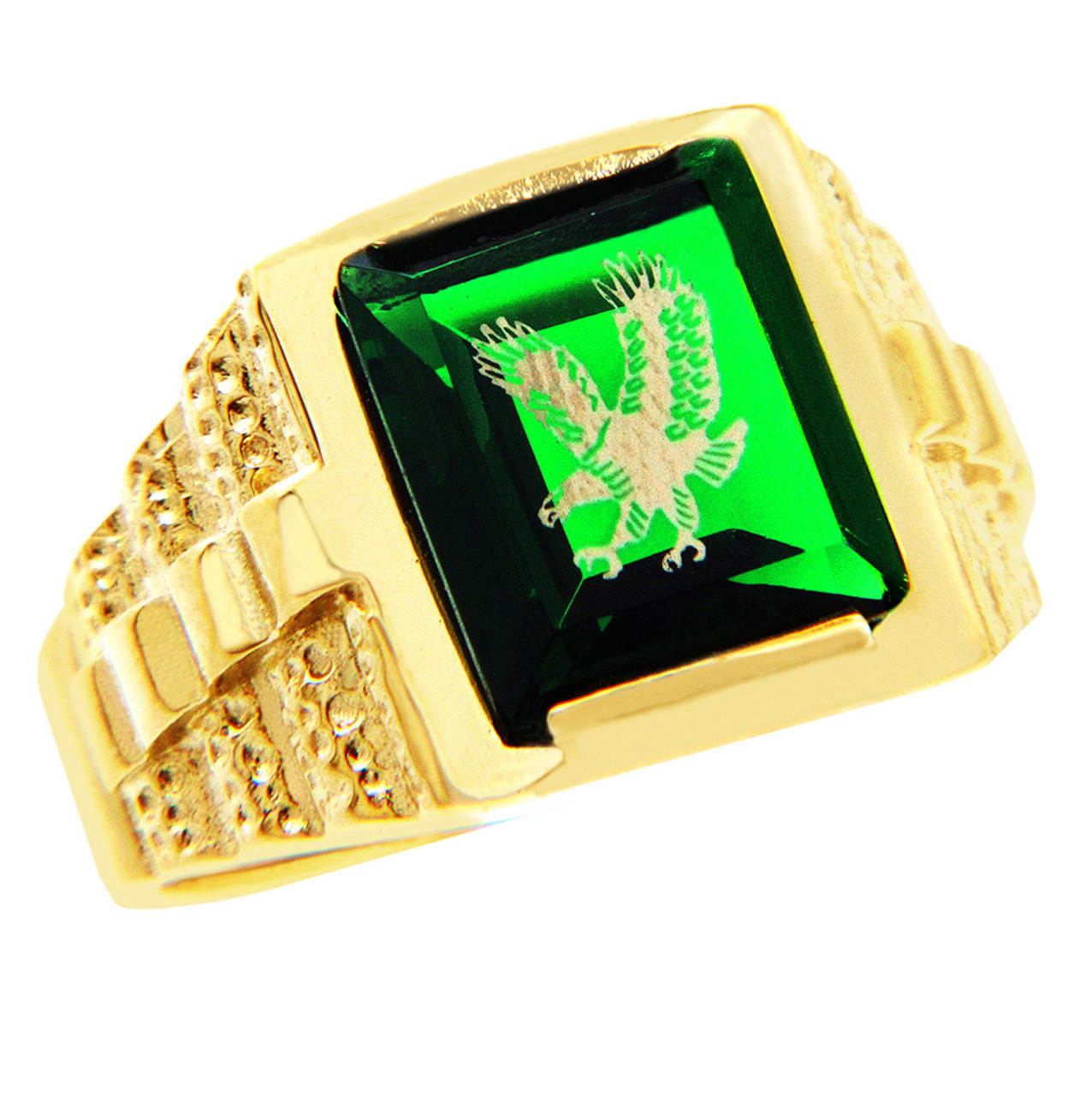 men 39 s gold rings the green stone and gold eagle ring. Black Bedroom Furniture Sets. Home Design Ideas