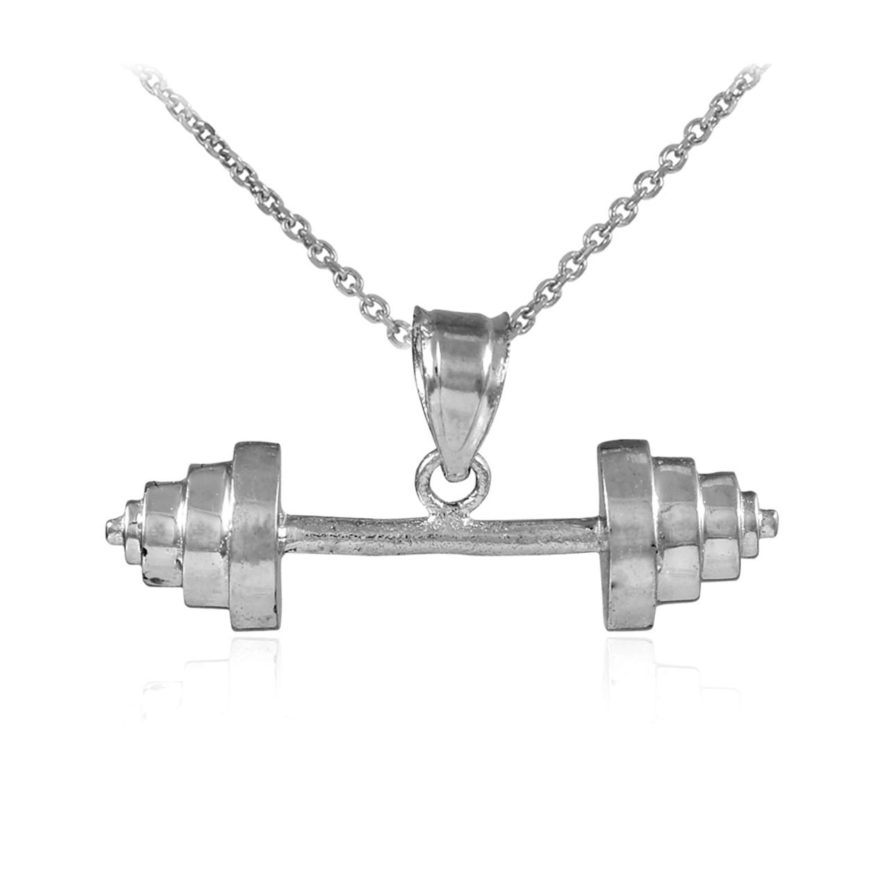 Silver Dumbbell Charm Sports Pendant