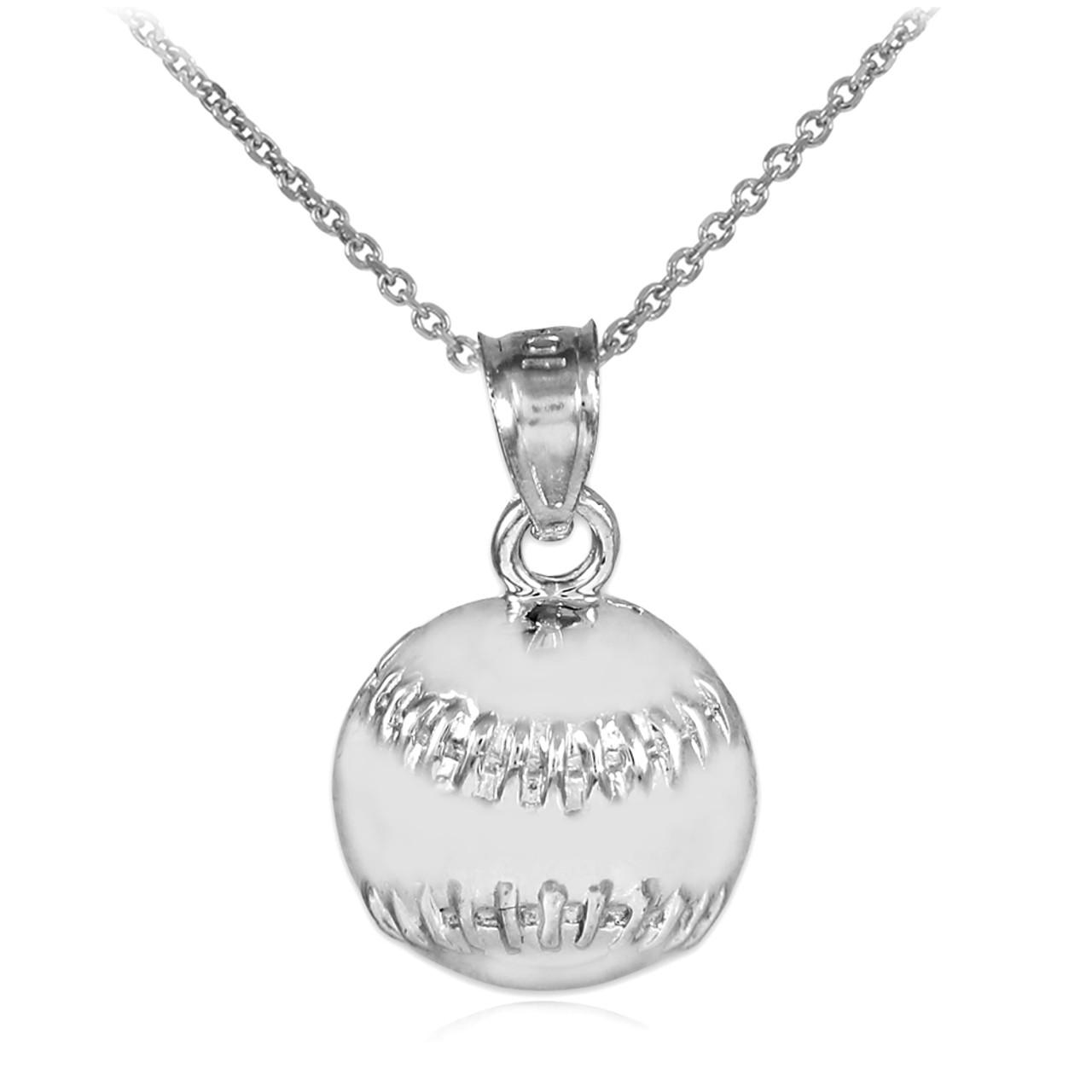 white gold baseball softball charm sports pendant